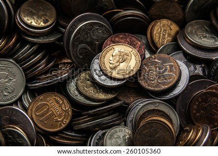 the old gold coin shines as hundred years ago and didn't lose in cost - stock photo