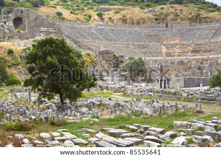 the old graveyard at the foot of the Amphitheater next to the Golden Highway at the old ruins of the city of Ephesus in modern day Turkey