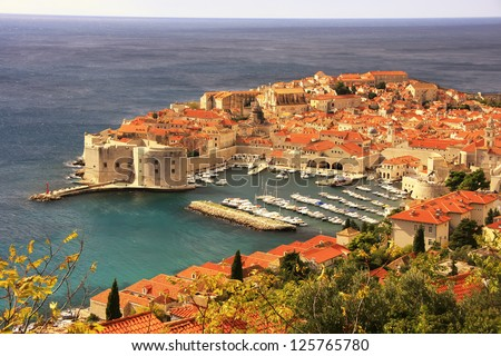 The Old Harbour at Dubrovnik, Croatia - stock photo