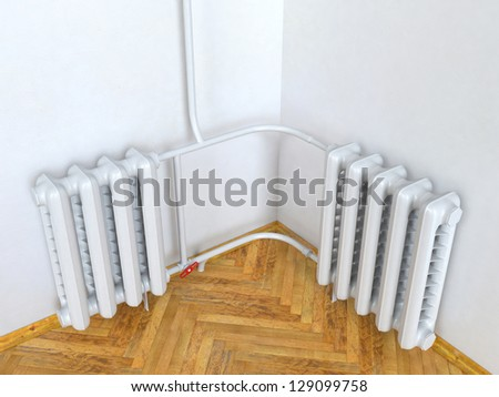 The old heating radiator in  room - stock photo