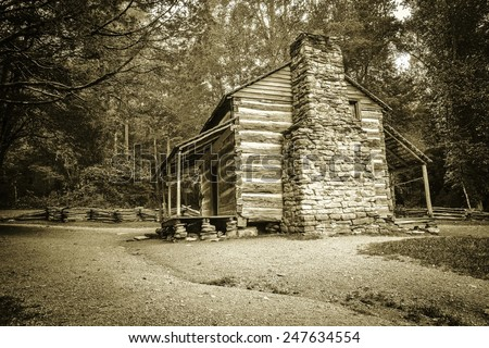 The Old Homestead. Historical pioneer cabin on display in the Great Smoky Mountains National Park. Gatlinburg, Tennessee. - stock photo