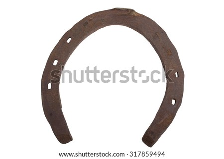 The old horseshoe isolated on a white background.