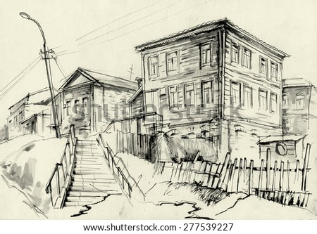 the old house on the street sketch