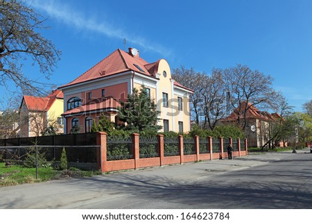 The old houses on the street, Kaliningrad city, Russia, formerly the German city of Konigsberg