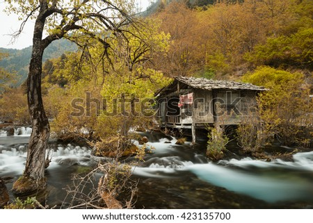The old hut in Rhinoceros Lake,Jiuzhai Valley National Park,Chaina