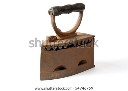 The old iron covered with rust on a white background