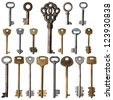 The old keys are isolated on a white background - stock photo