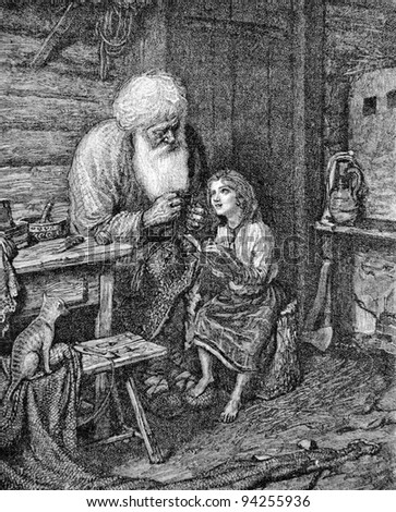 """The old man and his granddaughter. Engraving by Multanovsky from picture by painter Shakhovsky. Published in magazine """"Niva"""", publishing house A.F. Marx, St. Petersburg, Russia, 1893 - stock photo"""