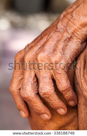 The old man hand - stock photo