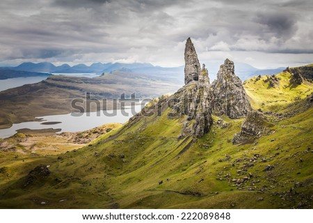 The Old Man of Storr on the Isle of Skye in the Highlands of Scotland - stock photo