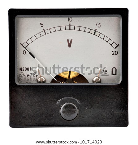 The old measuring device on a white background - stock photo