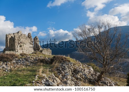 The old medieval Tower of Rigas in Messinia prefecture in Greece - stock photo