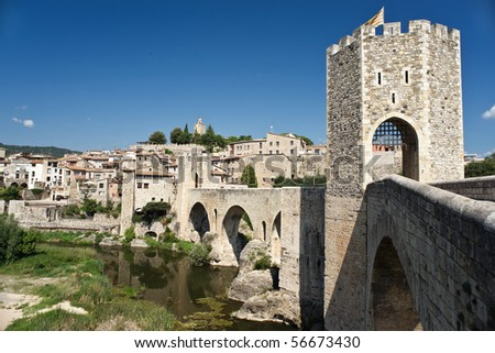 The old medievil town of Besalu, in Catalonia, Spain. - stock photo