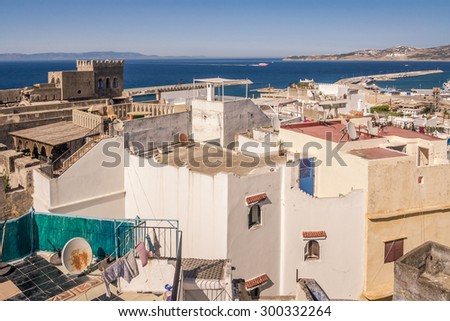 The old medina and the port of Tangier, Morocco, facing the Strait of Gibraltar and the Spanish coast. - stock photo
