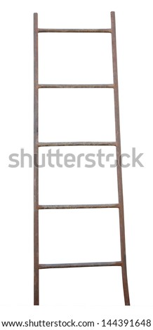 The old metal ladder isolated on white. - stock photo
