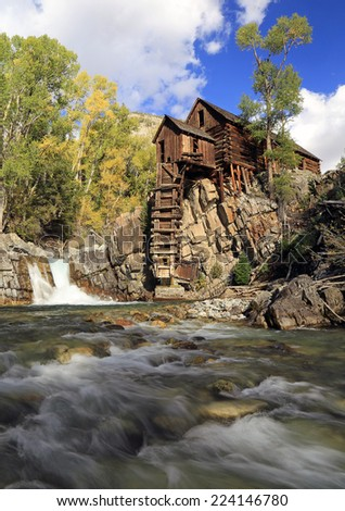 The old mill above the Crystal River, Colorado, USA. - stock photo