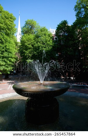 The Old North Church (and fountain) is officially known as Christ Church in the City of Boston, on April 18, 1775, James Rego Square, Hanover Street, Boston, MA  - stock photo