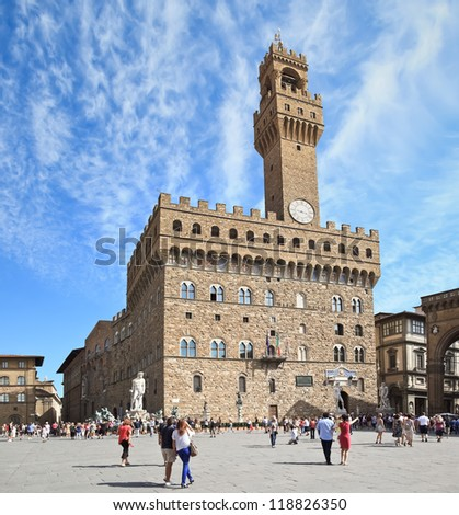 The Old Palace (Palazzo Vecchio or Palazzo della Signoria), Florence - Italy. Image assembled from two horizontal frames - stock photo