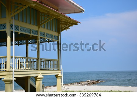 The old Pavilion on beach - stock photo