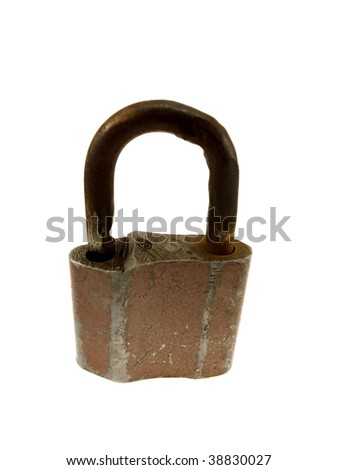 The old peeled hinged lock isolated on a white background
