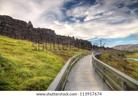 The old place Thingvellir in Iceland - stock photo