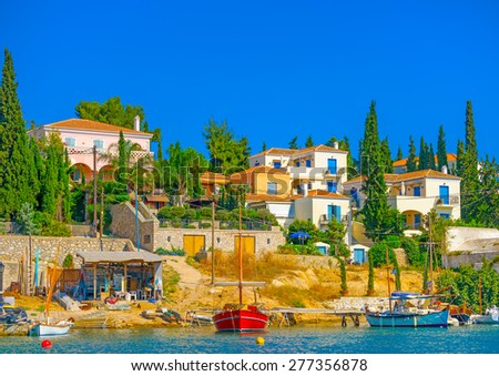 the old port of Spetses island in Greece - stock photo