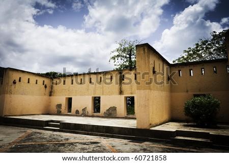 The old prison courtyard on Prison Island, Zanzibar, Tanzania, East Africa. - stock photo