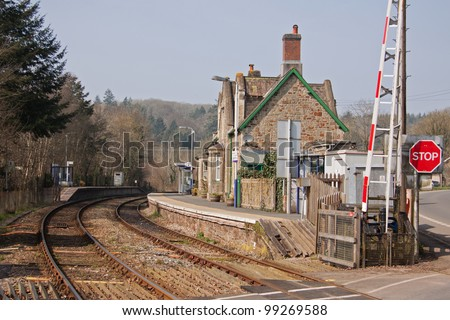 The old railway station building at Eggesford in mid Devon UK on the picturesque line running through the heart of Devon linking Exeter in the south with Barnstaple in the north of the county - stock photo
