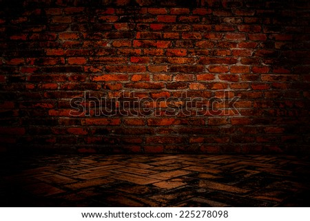 The old red brick walls and floors.