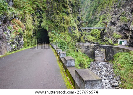 The old road ER101, north coast of Madeira (Portugal) - stock photo