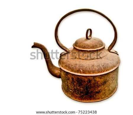 The Old rusted kettle isolated on white background - stock photo