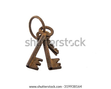 The old rusty key of white background. - stock photo