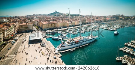 The old sea-port of Marseille. France - stock photo