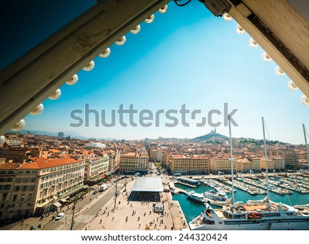 The old sea-port of Marseille. France. (view from the ferris wheel) - stock photo