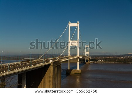 The old Severn Crossing welsh Pont Hafren bridge that crosses from England to Wales across the rivers Severn and Wye.