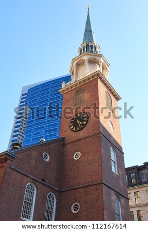 The Old South Meeting House in Boston, Massachusetts - USA - stock photo