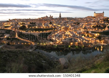 The old spanish city Toledo. an evening view