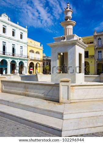 The Old Square (known in spanish as Plaza Vieja), a touristic landmark in Old Havana - stock photo