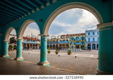 The Old Square or Plaza Vieja from the porch of the Fototeca de Cuba, Old Havana, Cuba. - stock photo