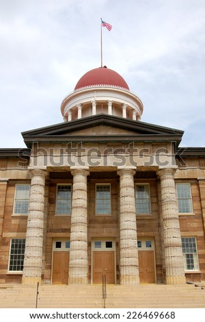 The Old State Capitol State Historic Site in Springfield, IL, was built in the Greek Revival style. Abraham Lincoln and Barack Obama announced their candidacy for President from the site. - stock photo