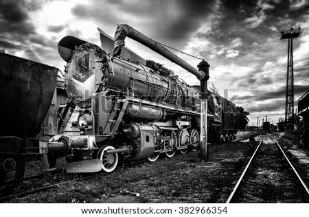The old steam locomotive - stock photo
