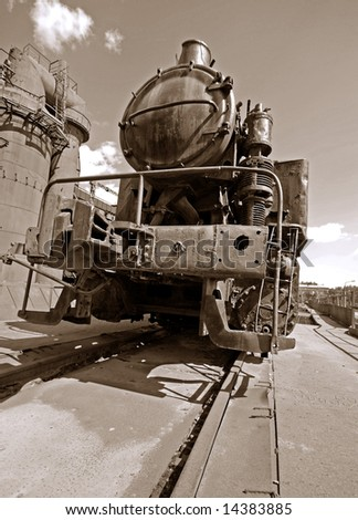the old Steam locomotive photo - stock photo