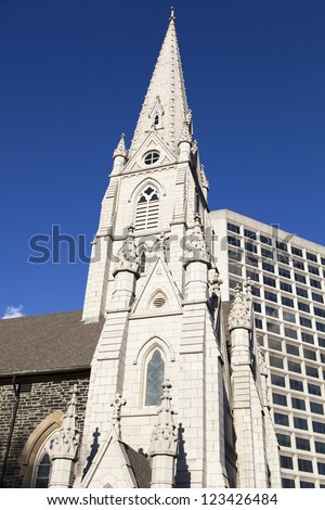The old style church and modern building in Halifax city downtown (Nova Scotia, Canada). - stock photo