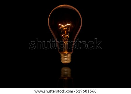 The old style Incandescent bulbs on black background