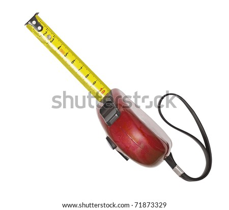 The old tape measure on the white background - stock photo