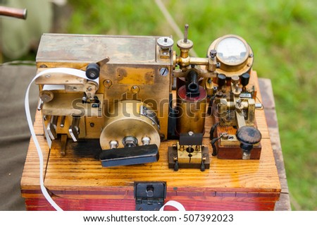 The old telegraph. The ancient technological devices for military and civilian purpose.