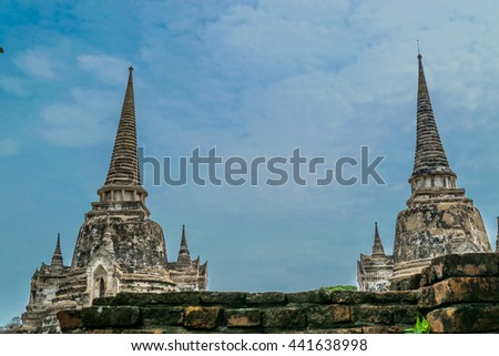 The old temple in Ayutthaya of Thailand