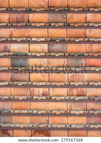 The old tile roof - stock photo
