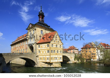 The old Town Hall of Bamberg, Bavaria, Germany on a little island in the river Regnitz - stock photo