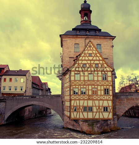 The Old Town Hall (1386) of Bamberg(Germany). The Old Town of Bamberg is listed as a UNESCO World Heritage. Instagram effect, square toned image - stock photo